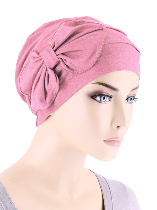 H121BB-PINK#Bamboo Pleated Bow Cap Cashmere Pink