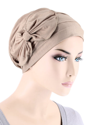 H121BB-BEIGE#Bamboo Pleated Bow Cap Champagne Beige