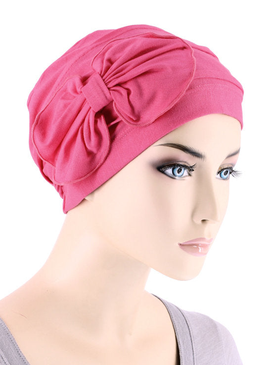 H121BB-HOTPINK#Bamboo Pleated Bow Cap Hot Pink