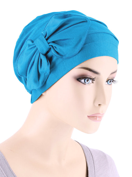 H121BB-TURQUOISE#Bamboo Pleated Bow Cap Turquoise