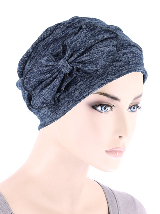 H121-HEATHERNAVY#Pleated Bow Cap Heather Navy Blue