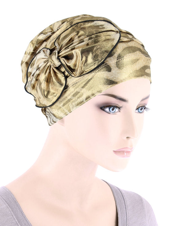 H121-LEOPARDGOLD#Pleated Bow Cap Leopard Gold Shimmer