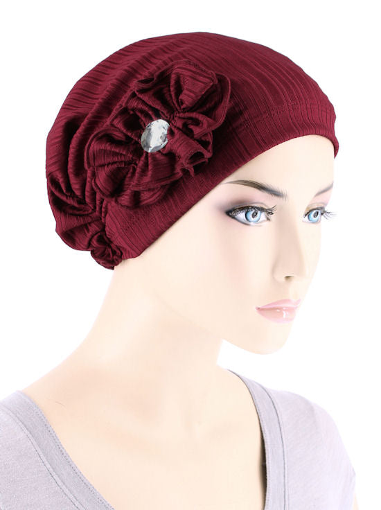 JOSIE-RIBBEDBURGUNDY#Josie Turban Ribbed Burgundy