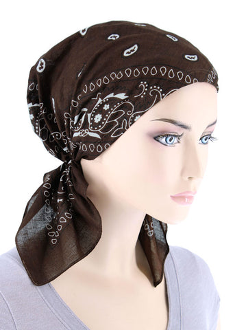 CE-BDNASCARF-BROWN#Bandana Scarf in Brown