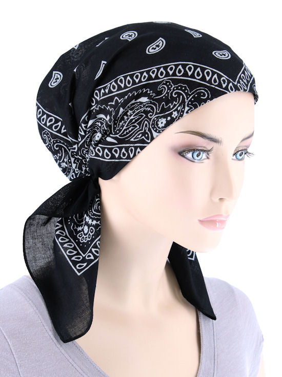 BDNASCARF-BLACK#Bandana Scarf in Black