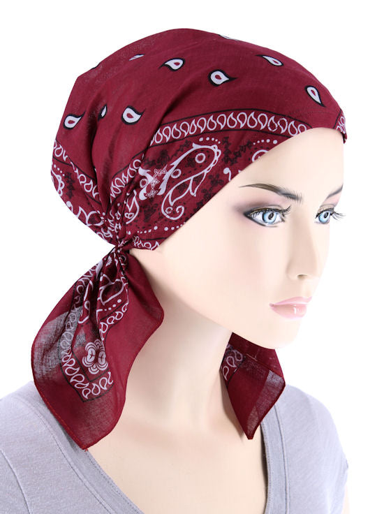 BDNASCARF-WINE#Bandana Scarf in Burgundy Red