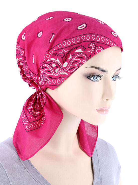 BDNASCARF-HTPINK#Bandana Scarf in Hot Pink