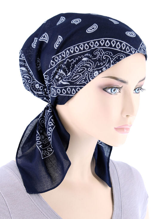 CE-BDNASCARF-NAVY#Bandana Scarf in Navy Blue