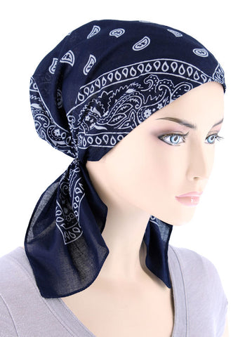 BDNASCARF-NAVY#Bandana Scarf in Navy Blue