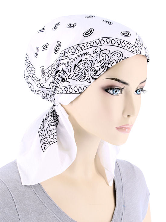 BDNASCARF-WHITE#Bandana Scarf in White