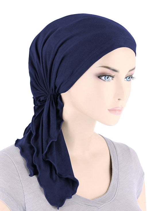 BELLA-BB-785#The Bella Scarf Bamboo Navy Blue