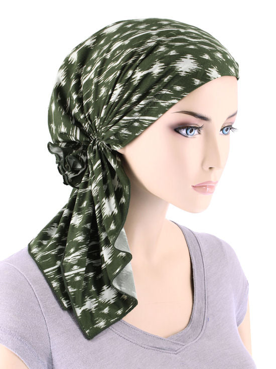 BELLA-719#The Bella Scarf Olive Green Abstract Ikat