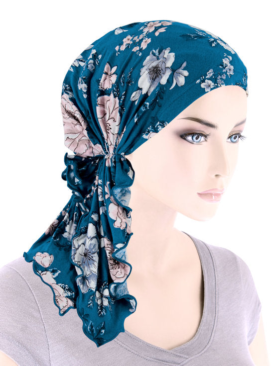 BELLA-797#The Bella Scarf Teal Rose Floral