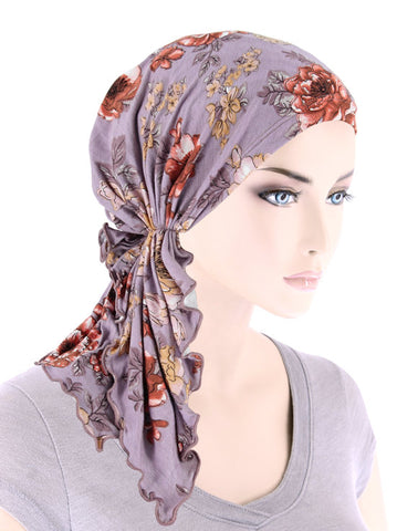 BELLA-798#The Bella Scarf Lilac Rose Floral