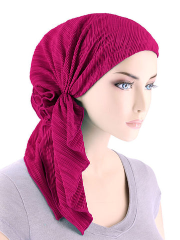 BELLA-691#The Bella Scarf Plisse Hot Pink