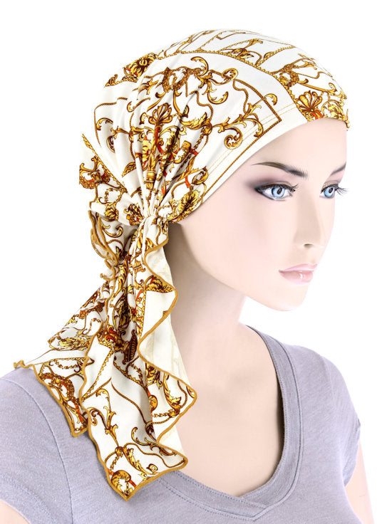 BELLA-757#The Bella Scarf Ivory Gold Baroque
