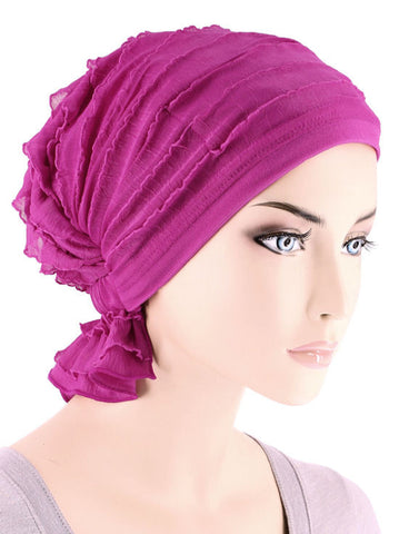 ABBEY-625#The Abbey Cap in Ruffle Hot Pink