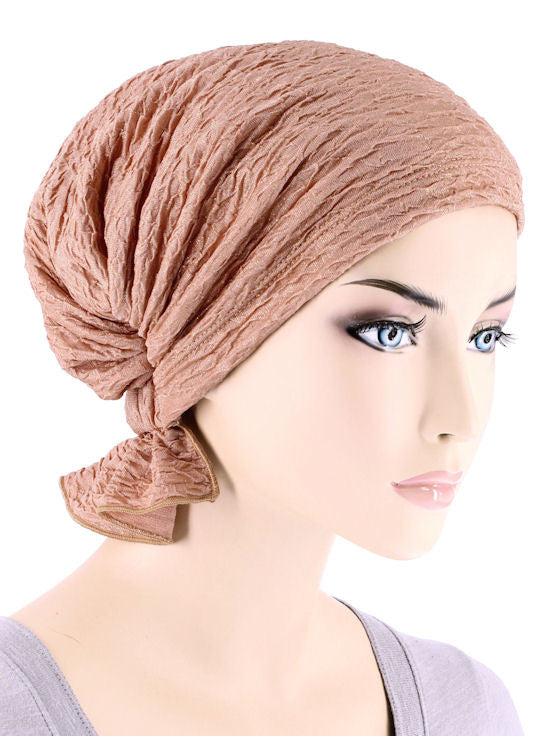 ABBEY-629#The Abbey Cap in Peachy Pink w/Golden Shimmer