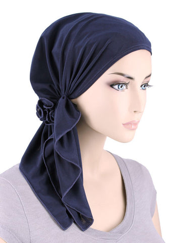 BELLA-682#The Bella Scarf Navy Blue