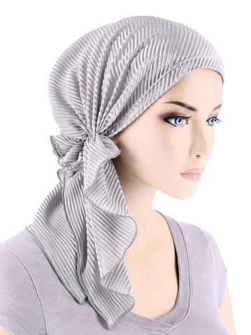 BELLA-737#The Bella Scarf Plisse Silver Gray