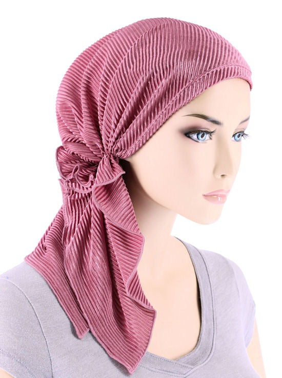 BELLA-738#The Bella Scarf Plisse Rose Pink