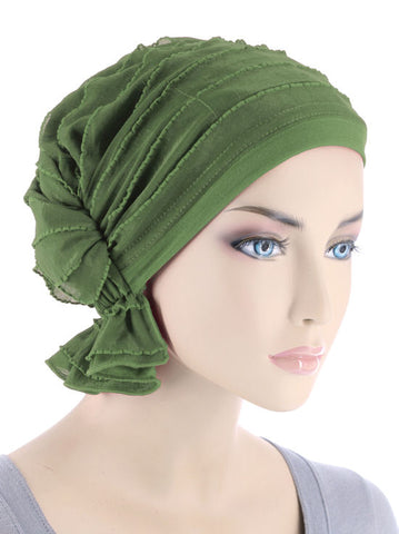 ABBEY-431#The Abbey Cap in Ruffle Olive