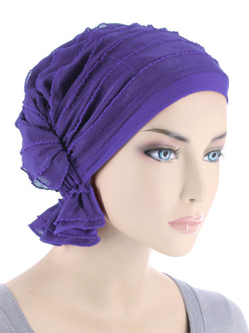 ABBEY-492#The Abbey Cap in Ruffle Purple