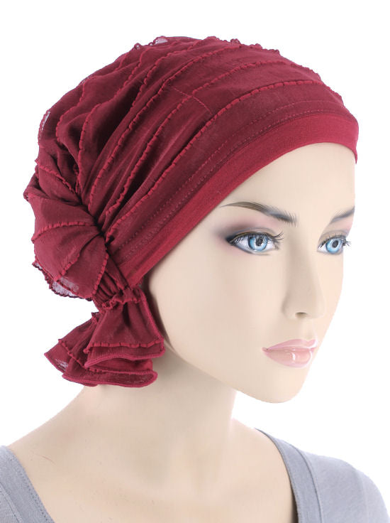 ABBEY-615#The Abbey Cap in Ruffle Crimson Red