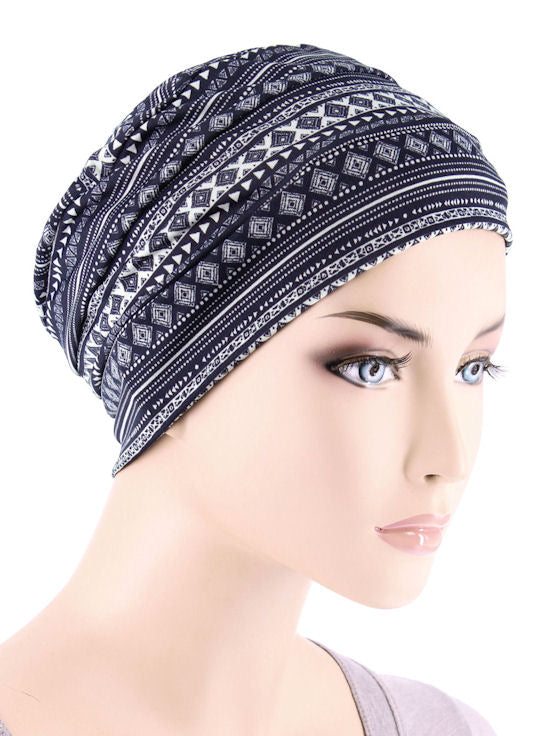 CKC-118#Chemo Cloche Cap in Navy Blue Aztec