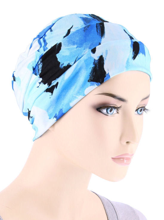 CKC-121#Chemo Cloche Cap in Brushed Ocean Blue