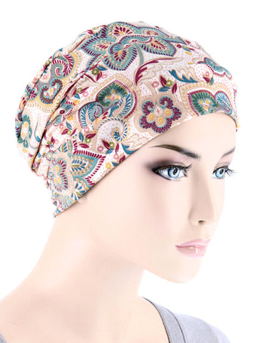 CKC-123#Chemo Cloche Cap in Multi Colored Paisley