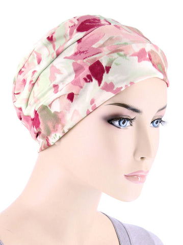 CKC-124#Chemo Cloche Cap in Mauve Watercolor Floral