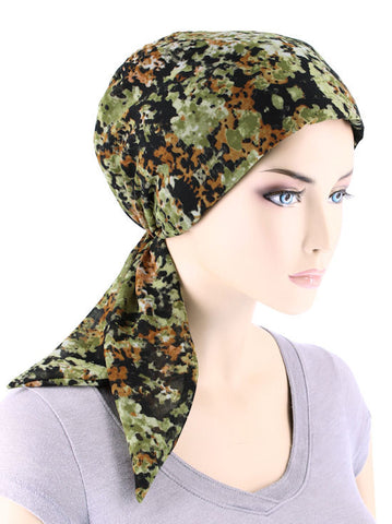 CFS-1130#Chemo Fashion Scarf Abstract Floral Green