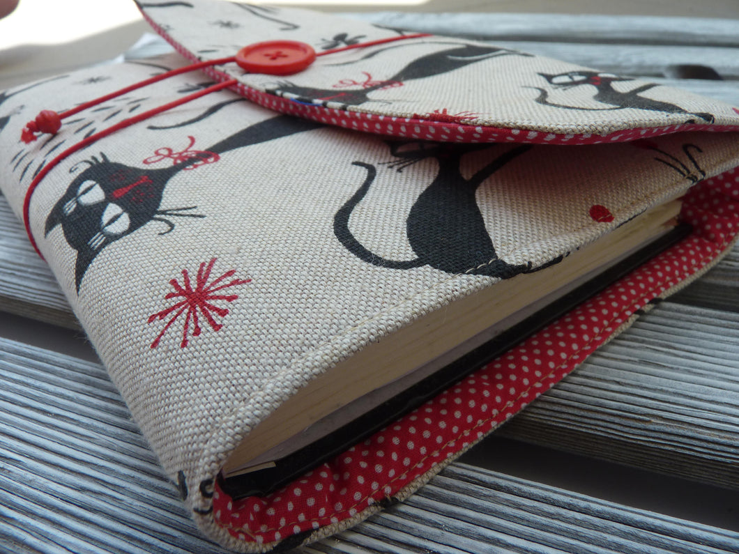 Cloth Book Covers For Sale ~ Black cats book sleeve fabric for books