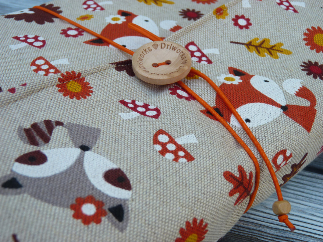 Adjustable Fabric Book Cover ~ Fox and hedghog book sleeve linen book sleeve foxes fabric book