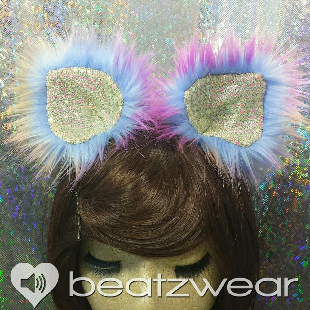 Disco kitty ears - tie dye cat ears dark sunset you choose lining - Beatzwear