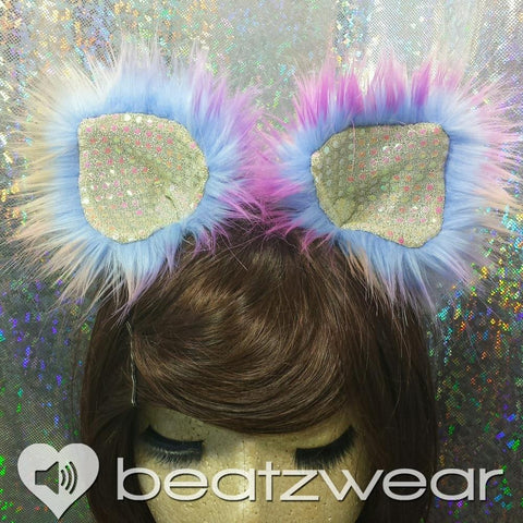 Disco kitty ears - tie dye cat ears dark sunset you choose lining
