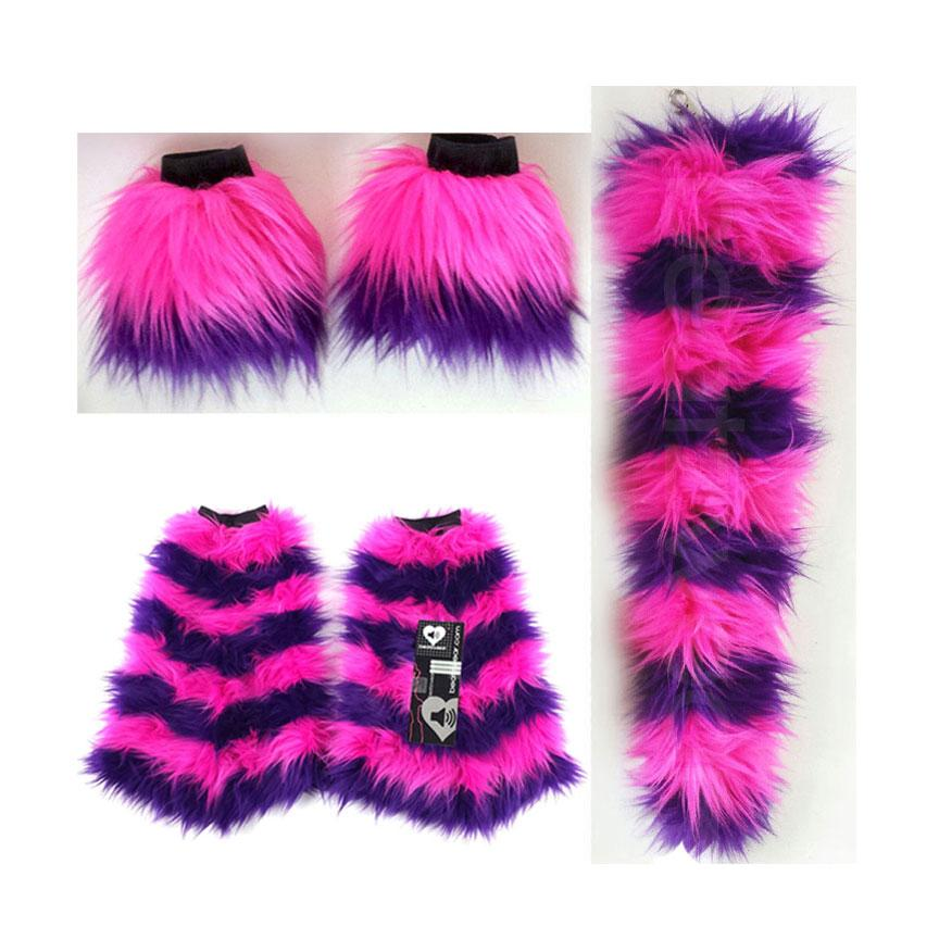 Cheshire Cat costume-  tail, cuffs, and leggings