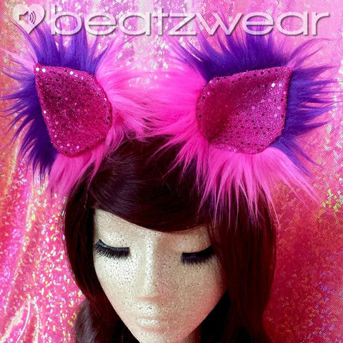 Disco kitty ears - pink and purple Cheshire Cat inspired cat ears