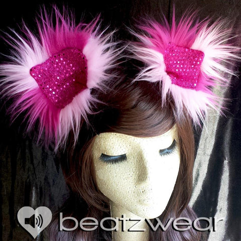 Disco kitty ears - light and dark pink Cheshire Cat inspired