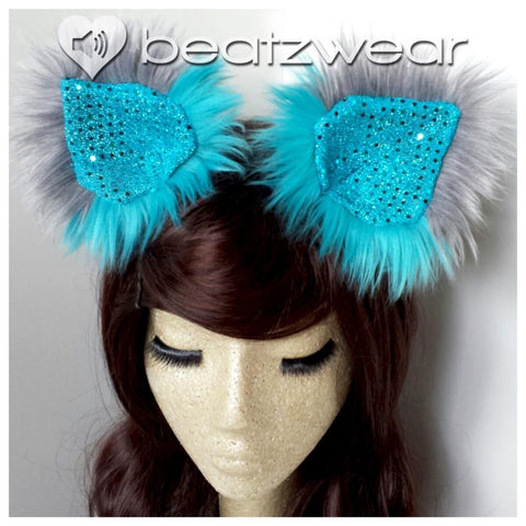 Disco kitty ears - turquoise and gray Cheshire Cat inspired