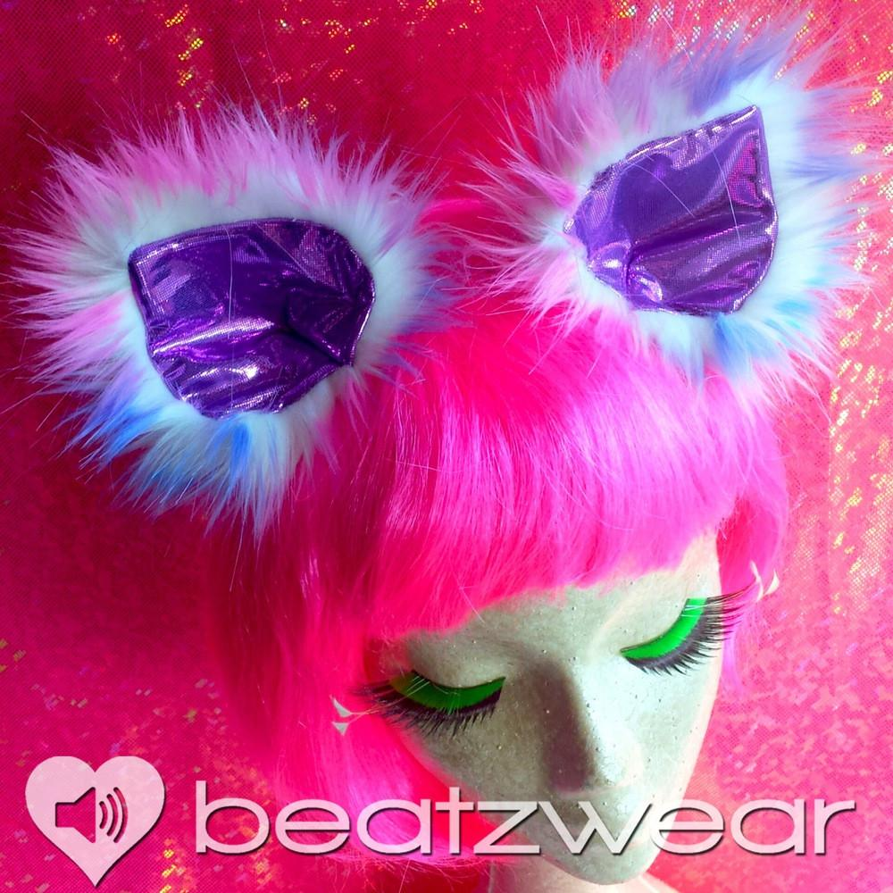 Disco kitty ears - tie dye cat ears light bubblegum you choose lining - Beatzwear