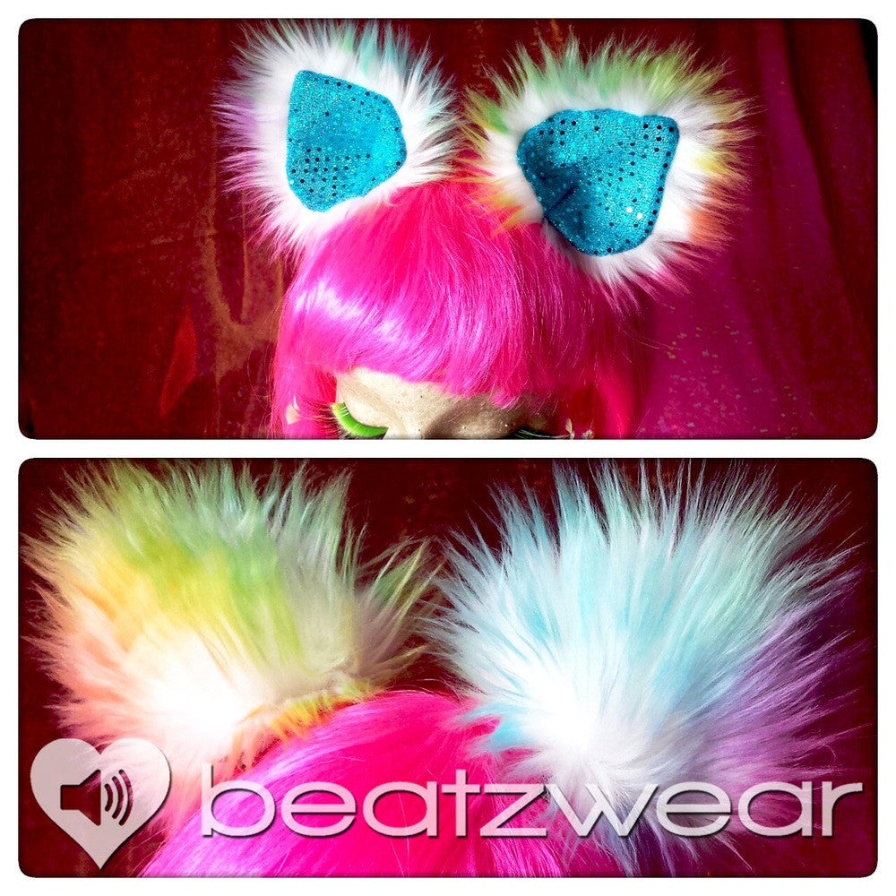 Disco kitty ears - tie dye cat ears light rainbow you choose lining - Beatzwear