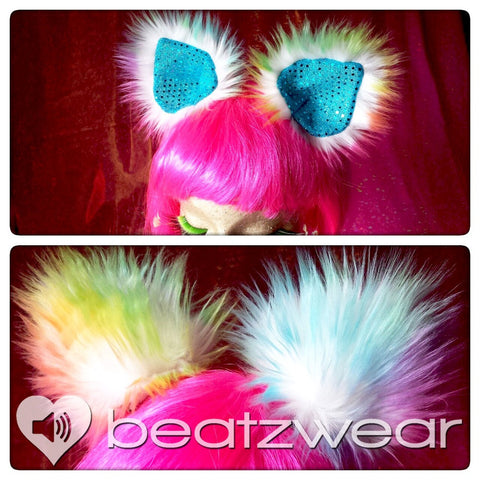 Tie dye rainbow cat ears. Clip in cat ears.