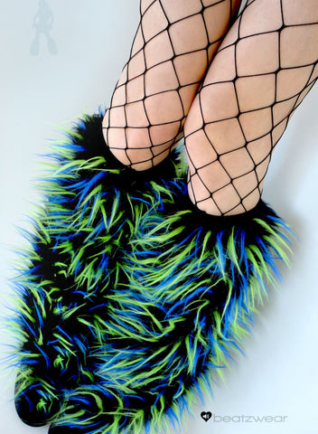 Festival fluffies uv black/lime/blue