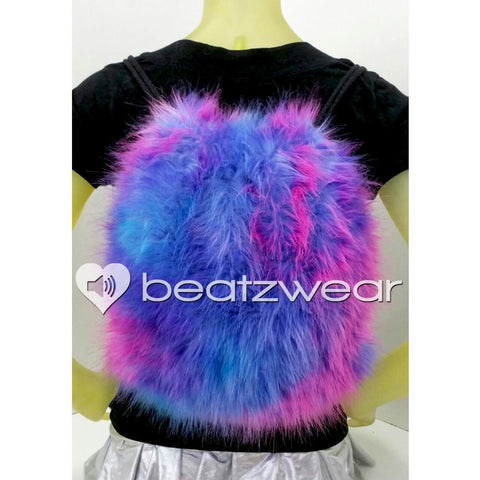 Furry backpack- tie dye dark bubblegum