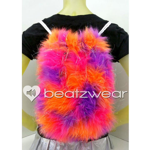 Furry backpack- tie dye glitter pink purple orange