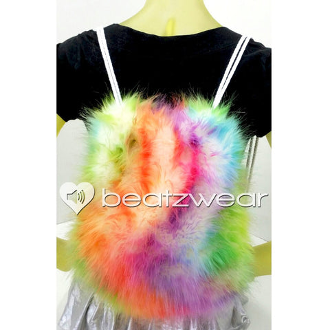 Furry backpack- tie dye light rainbow