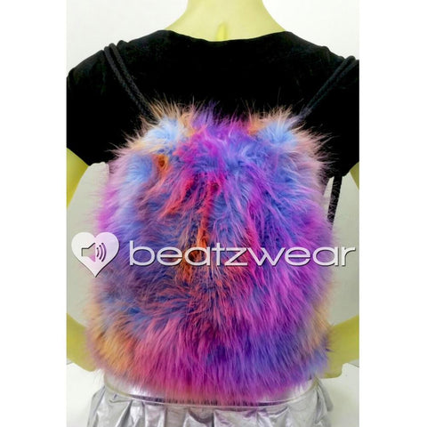Furry backpack- tie dye dark sunset