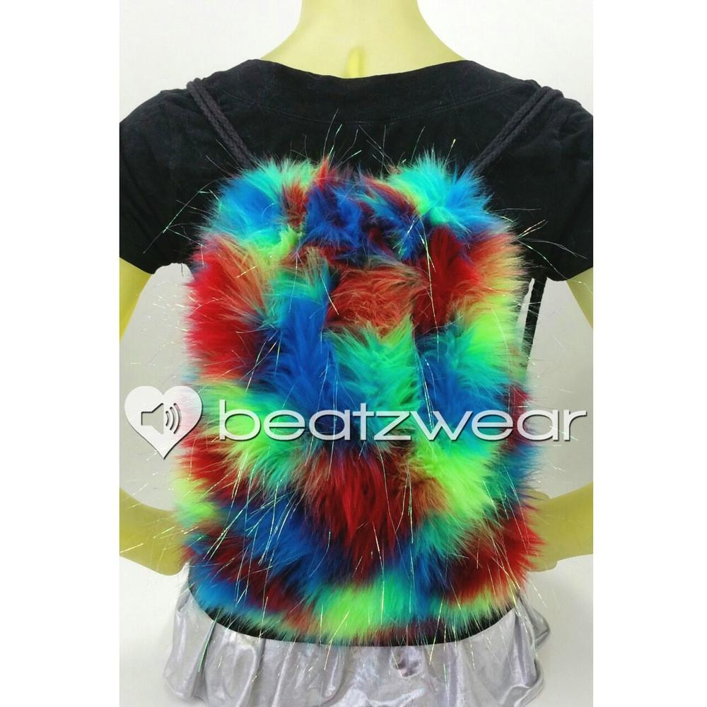 Furry backpack- tie dye glitter red lime turquoise - Beatzwear